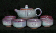 5.2 Old Chinese Song Dynasty Jun Kiln Fambe Porcelain Dynasty Teapot Cup Set