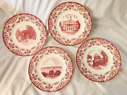 Wedgewood Plates Union College, Set Of 4 Dinner Size, Near Mint, Made In England