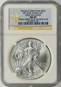 2012w American Silver Eagle 1 Ngc Ms69 West Point Label