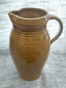 Stamped Jamestown Va Pottery 10 Tall Pitcher Brown Drip With Artist Initial