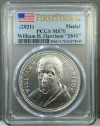 2021 William H. Harrison 1841 Presidential Silver Medal Pcgs Ms70 First Strike