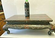 Antique Chinese Lacquer Kang Table / Stand Cabriole Legs Inlay-painted Cloisonnandeacute