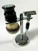 Luxury Wet Shaving Kit Metal Safety Razor And Brush With Chrome Stand + 20 Blades