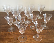 Antique Lot Of 12 Lead Cut Crystal Stemware 6 Wine Glasses And 6 Cordial Glasses