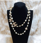 Gorgeous Classic 2019 Cc Logo Crystal Pearl 36 Long Necklace