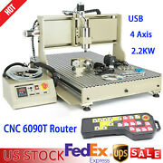 Usb 4 Axis Cnc 6090t Router Engraver 3d Carving Mill Machine 2.2kw W/ Handwheel