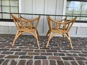 Vintage Bamboo Dining Table Rattan Boho Pencil Reed Mcguire Style Double Base