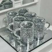 Crushed Diamond Crystal Filled Mugs Set Of 6 Silver Kitchen Tea Coffee Cups New