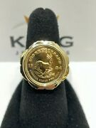 14k Yellow Gold 1/10 Ounce Krugerrand Menand039s Ring