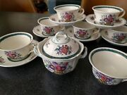 Antique Wedgwood China Etruria England Floral 1922 Coffee Cup Sugar Bowl Saucers