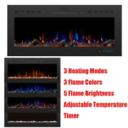 50'' Electric Fireplace Insert Heater Embedded Adjustment Flame Colors Remote Us