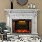 33'' Led Electric Fireplace Recessed Embedded Insert Heater Multicolor Top Light