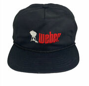 Vintage Weber Grill Bbq Logo Rope Bill Embroidered Hat Made In Usa Summer