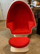 Vintage Alpha Egg Chair Lee West Style W/ Ottoman Red Chamber Pod Speakers Ball