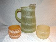 Vintage Spaghetti String Pitcher And 2 Roly Poly Glasses Mid Century Modern Retro