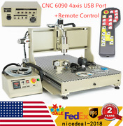 Cnc 6090 4 Axis Router Milling Engraving Engraver 3d Drill Machine Usb Port + Rc