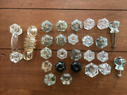 26 Vintage Clear Glass Faceted Knobs Country Dresser Handles Cabinet Pulls Lot