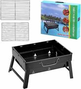 Folding Portable Barbecue Charcoal Grill Barbecue Desk Tabletop Outdoor Smoker
