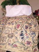 Vtg Provence French Jacobean Floral Queen Bed Skirt Blue Red Beige