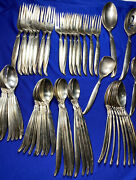 1847 Rogers Bros Flair Flatware Silver Plate 61 Pieces W/serving—ss