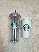 2012 Starbucks Tumbler 24oz Clear Double Wall Acrylic And Disposable Love Cup 16oz