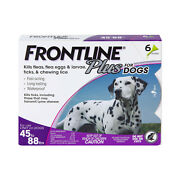 Frontline Plus For Large Dogs 45-88 Lbs Flea And Tick Treatment, 6 Doses