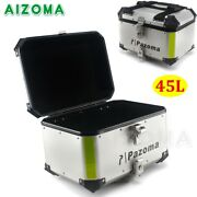 42l Aluminum Motorcycle Tail Box Rear Luggage Storage Top Case For Harley Bmw