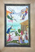 Mughal Priest Served Food By Angels Handmade Mughal-persian Miniature Painting