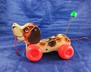 Vintage 1965 Fisher Price Little Snoopy Wooden Puppy Dog Pull Toy