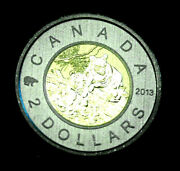 2013 Canadian Specimen Black Bear Cubs Two Dollar Coin From Set