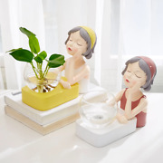 Nordic Hydroponic Glass Vase Girl Home Dining Room Office Table Desk Decoration