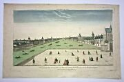 Warsaw Poland 1750 Large Antique Optical View In Colors 18th Century