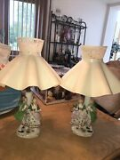 Set Of 2 Vintage Victorian Green And White Porcelain Man Woman Lady Lamp W Shades