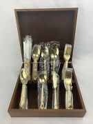 New Gold Duchess 44 Pc Gold Plated Stainless Flatware Set And Wood Case Vintage
