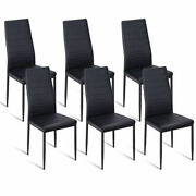 Set Of 6 Dining Chair High Back Pu Leather Kitchen Side Chairs Home Furniture