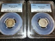 1853 Vf20 Arrows And 1854 F12 Arrows Seated Liberty Dimes Pcgs Certified Coins