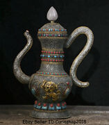 14 Old Tibet Nepal Silver Wire Crystal Inlay Gem Hand Handle Wine Pot Flagon