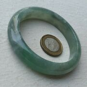 57mm Certified Type A Icy Jadeite Bangle Ice Blue Water Bright Green Jade