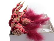 Lot 6 Czech Blown Glass Red Swan Christmas Tree Decorations Ornaments