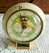 Vintage Babe Ruth Functioning Wind Up Alarm Clock 3-1/2 X 3-1/2