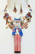 Vintage American Flags Hallmark Uncle Sam Gemstone Necklace One Of A Kind