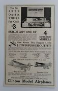 Antique 1920and039s Clinton Model Airplanes Construction Outfit Toy Kit 1929 Print Ad