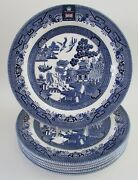 Queenand039s By Churchill Blue Willow 10 3/8 Dinner Plates Set 6 Nwt