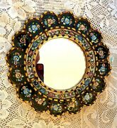 Rare Vintage Round Tile And Gold Gilt Wood Mirror