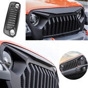 For 2018 2019 2021 Jeep Wrangler Jl Abs Black Front Grille Grill Cover Trim 1pcs