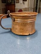 Antique Hammered Riveted Solid Copper Coffee Bean Pot Mug With Iron Handle 1qt