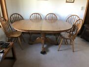Solid Oak Farmhouse Dining Room Set With 2 Leaves And 6 Chairs. Excellent Condit
