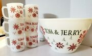 Set Of 7 Fire-king Tom And Jerry Snowflake Bowl 6 Mugs Egg Nog Cups Milk Glass