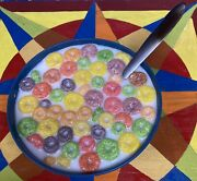 Realistic Faux Fake Food Bowl Of Fruit Loops Breakfast Cereal Stage Movie Prop