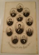 President Abraham Lincoln And His Cabinet Members Dated In Middle 1864 Over 157